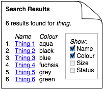 Diagram: checkboxes on search results page insteadwidth='50%'