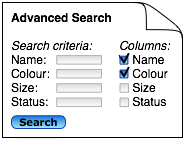 Diagram: search form checkboxes to select search results columnswidth='50%'